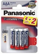 Батарейка Panasonic, Everyday Power, LR03EPS/6BP 4+2F, тип AAA, 1.5V (блистер - 4+2 шт)