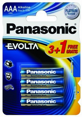 Батарейка Panasonic, EVOLTA, LR03EGE/4BP тип ААА, 1.5V  (блистер - 4 шт)