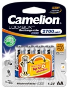 Аккумулятор CAMELION, Lockbox Rechargeable, NH-AA2700LBP4, 2700 mAh, тип AA, 1.2V (блистер - 4 шт.)