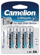 Батарейка CAMELION, Lithium Battery P7, FR6-BP4, тип AA, 1.5V (блистер - 4 шт)